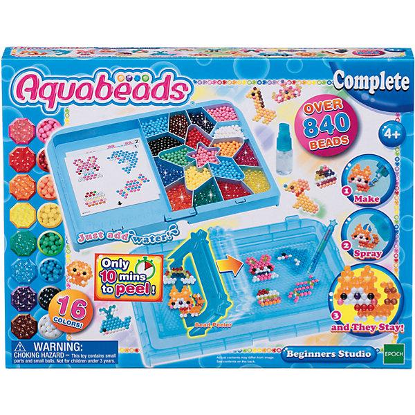 Мозаика из бусин Aquabeads Студия новичкаМозаика детская<br>Набор Студия новичка содержит все необходимые аксессуары, чтобы начать игру! В комплект входят: палитра в виде звезды, в которой можно хранить 840 бусин 16 разных цветов (также в комплекте), бутылочка-распылитель для воды, ручка для бусин и гребешок, чтобы можно было снять получившуюся из бусин игрушку с формы уже через 10 минут после распыления на нее воды. Столик-основу можно использовать как форма для бусин.<br>Создававайте чудесные игрушки из бусин в формах тортиков, радуги, животных - воображению нет предела!<br>Просто распылите воду, и бусины соединятся вместе! Для получения готовой игрушки не требуется теплового воздействия или нагрева утюгом.<br>Ширина мм: 50; Глубина мм: 310; Высота мм: 240; Вес г: 624; Возраст от месяцев: 48; Возраст до месяцев: 144; Пол: Унисекс; Возраст: Детский; SKU: 7236012;