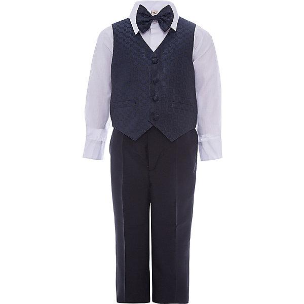 Комплект M&amp;D для мальчикаКомплекты<br>Характеристики товара:<br><br>• цвет: темно-синий;<br>• комплект: жилет, рубашка, брюки, галстук-бабочка;<br>• состав ткани: рубашка: 50% хлопок, 50%полиэстер; жилет,брюки,бабочка:55% полиэстер, 25% модал, 20% хлопок;<br>• особенности: нарядная одежда, праздник, новый год;<br>• сезон: круглый год;<br>• страна бренда: Россия;<br>• страна производитель: Россия.<br><br>Нарядный костюм для мальчика бренда МД - это удобный и красивый наряд на любой праздник. В комплект входит рубашка, брюки, жилет и бабочка на резинке.<br><br>В этом нарядном костюме ребенок будет выглядеть самым элегантным джентельменом на утреннике или новогодней елке.<br><br>Комплект M&amp;D для мальчика можно купить в нашем интернет-магазине.<br>Ширина мм: 174; Глубина мм: 10; Высота мм: 169; Вес г: 157; Цвет: темно-синий; Возраст от месяцев: 60; Возраст до месяцев: 72; Пол: Мужской; Возраст: Детский; Размер: 116,92,98,104,110; SKU: 7236197;