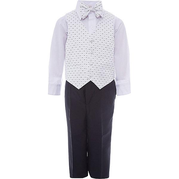 Комплект M&amp;D для мальчикаКомплекты<br>Характеристики товара:<br><br>• цвет: белый;<br>• комплект: жилет, рубашка, брюки, галстук-бабочка;<br>• состав ткани: рубашка: 50% хлопок, 50%полиэстер; жилет,брюки,бабочка:55% полиэстер, 25% модал, 20% хлопок;<br>• особенности: нарядная одежда, праздник, новый год;<br>• сезон: круглый год;<br>• страна бренда: Россия;<br>• страна производитель: Россия.<br><br>Нарядный костюм для мальчика бренда МД - это удобный и красивый наряд на любой праздник. В комплект входит рубашка, брюки, жилет и бабочка на резинке.<br><br>В этом нарядном костюме ребенок будет выглядеть самым элегантным джентельменом на утреннике или новогодней елке.<br><br>Комплект M&amp;D для мальчика можно купить в нашем интернет-магазине.<br>Ширина мм: 174; Глубина мм: 10; Высота мм: 169; Вес г: 157; Цвет: белый; Возраст от месяцев: 60; Возраст до месяцев: 72; Пол: Мужской; Возраст: Детский; Размер: 116,92,98,104,110; SKU: 7236203;