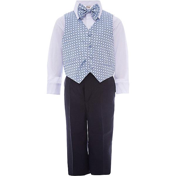 Комплект M&amp;D для мальчикаКомплекты<br>Характеристики товара:<br><br>• цвет: голубой;<br>• комплект: жилет, рубашка, брюки, галстук-бабочка;<br>• состав ткани: рубашка: 50% хлопок, 50%полиэстер; жилет,брюки,бабочка:55% полиэстер, 25% модал, 20% хлопок;<br>• особенности: нарядная одежда, праздник, новый год;<br>• сезон: круглый год;<br>• страна бренда: Россия;<br>• страна производитель: Россия.<br><br>Нарядный костюм для мальчика бренда МД - это удобный и красивый наряд на любой праздник. В комплект входит рубашка, брюки, жилет и бабочка на резинке.<br><br>В этом нарядном костюме ребенок будет выглядеть самым элегантным джентельменом на утреннике или новогодней елке.<br><br>Комплект M&amp;D для мальчика можно купить в нашем интернет-магазине.<br>Ширина мм: 174; Глубина мм: 10; Высота мм: 169; Вес г: 157; Цвет: голубой; Возраст от месяцев: 18; Возраст до месяцев: 24; Пол: Мужской; Возраст: Детский; Размер: 92,116,110,104,98; SKU: 7236209;