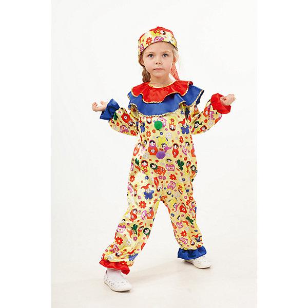 1004 к-18 Костюм СкоморохКарнавальные костюмы для девочек<br>Характеристики товара:<br><br>• возраст: от 3 лет;<br>• в комплекте: комбинезон, колпак;<br>• состав: 100% полиэстер;<br>• назначение: для праздника;<br>• размер упаковки: 45х8х35 см;<br>• вес: 0,25 кг.;<br>• страна-производитель: Россия.<br><br>Красочный костюм Скоморох не останется без внимания. Благодаря удобному фасону, карнавальный костюм подойдет как для крупных , так худеньких деток. Образ дополняет яркий колпак с бумбоном. Застежка на спинке на молнии.<br><br>Карнавальный костюм «Скоморох» можно купить в нашем интернет-магазине.<br><br>Ширина мм: 450<br>Глубина мм: 80<br>Высота мм: 350<br>Вес г: 250<br>Возраст от месяцев: 36<br>Возраст до месяцев: 48<br>Пол: Унисекс<br>Возраст: Детский<br>Размер: 104,116,110<br>SKU: 7238495