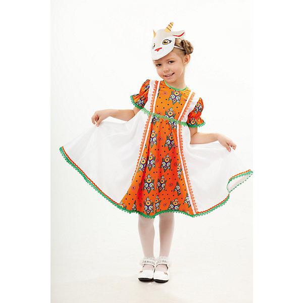 1006 к-18 Костюм Коза ДерезаКарнавальные костюмы для девочек<br>100% полиэстер Карнавальный костюм Коза Дереза, выполнен из принтованной ткани, тематическая маска удачно дополняет образ. Платье с подъюбником. Застежка по спинке на молнии.<br>Ширина мм: 450; Глубина мм: 80; Высота мм: 350; Вес г: 250; Возраст от месяцев: 36; Возраст до месяцев: 48; Пол: Женский; Возраст: Детский; Размер: 116,110,104; SKU: 7238504;