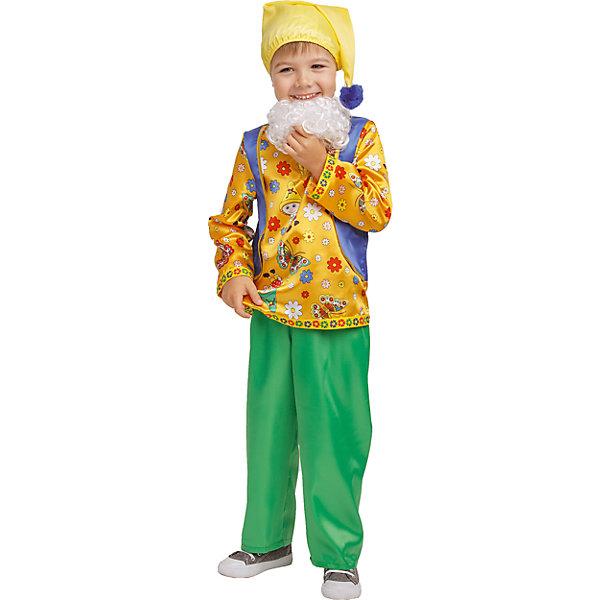 1008 к-18 Костюм Гном КузьмаКарнавальные костюмы для мальчиков<br>100% полиэстер Красочный костюм Гном Кузьма понравится любому ребенку за счет принтовой рубахи, ярких брюк  и пушистой бороды. Образ дополняет колпак с бумбоном.<br>Ширина мм: 450; Глубина мм: 80; Высота мм: 350; Вес г: 250; Возраст от месяцев: 60; Возраст до месяцев: 72; Пол: Мужской; Возраст: Детский; Размер: 116,128,110; SKU: 7238512;