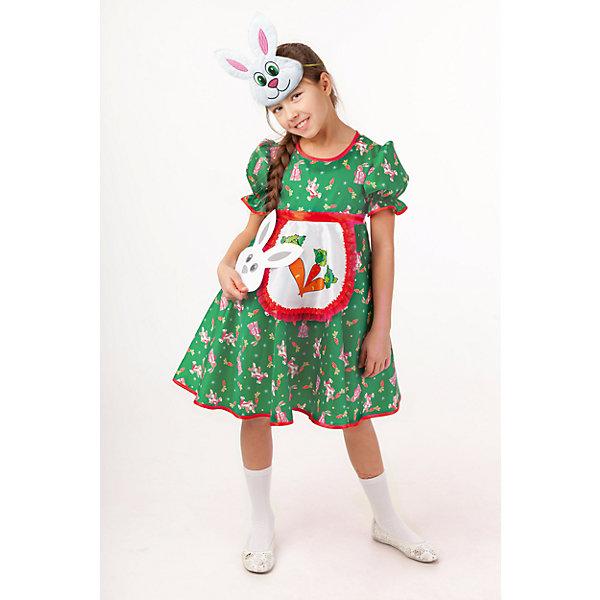 1009 к-18 Костюм Зайка АняНовинки для праздника<br>100% полиэстер Частыми гостями детских утренников являются не только снежинки и лисички, но и зайчики!  Красивый и удобный костюм Зайки Аня обязательно порадует активного и артистичного ребёнка. Застежка на спинке на молнии. Образ дополняет маска.<br><br>Ширина мм: 450<br>Глубина мм: 80<br>Высота мм: 350<br>Вес г: 250<br>Цвет: зеленый<br>Возраст от месяцев: 36<br>Возраст до месяцев: 48<br>Пол: Женский<br>Возраст: Детский<br>Размер: 104,116,110<br>SKU: 7238516