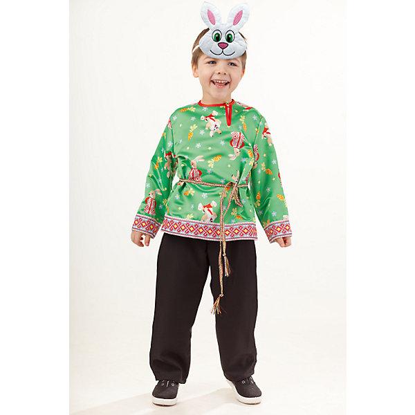 1010 к-18 Костюм Заяц МитенькаКарнавальные костюмы для мальчиков<br>100% полиэстер Частыми гостями детских утренников являются не только снежинки и лисички, но и зайчики!  Красивый и удобный костюм Зайца Митеньки обязательно порадует активного и артистичного ребёнка. Образ дополняет маска.<br><br>Ширина мм: 450<br>Глубина мм: 80<br>Высота мм: 350<br>Вес г: 250<br>Возраст от месяцев: 36<br>Возраст до месяцев: 48<br>Пол: Мужской<br>Возраст: Детский<br>Размер: 104,116,110<br>SKU: 7238520