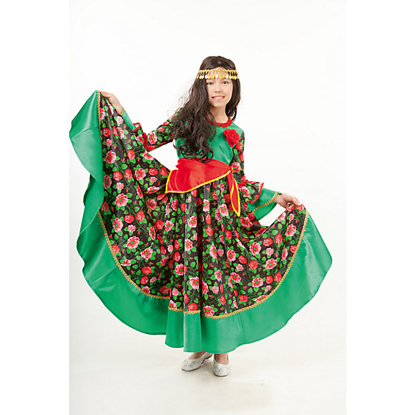 1015 к-18 Костюм Цыганка РадаКарнавальные костюмы для девочек<br>100% полиэстер Костюм Цыганки выполненый в сочетании зеленого цвета и красных цветов, не останется не замеченным. Платье застегивается на молнию на спинке. Образ Цыганки полным делает парик, повязка с манистами и косынка-бедровка.<br><br>Ширина мм: 450<br>Глубина мм: 80<br>Высота мм: 350<br>Вес г: 250<br>Возраст от месяцев: 108<br>Возраст до месяцев: 120<br>Пол: Женский<br>Возраст: Детский<br>Размер: 140,116,128,134<br>SKU: 7238540
