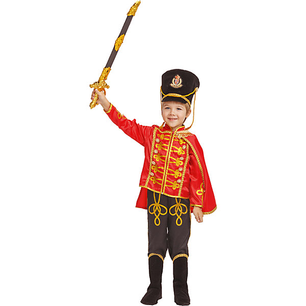 1020 к-18 ГусарКарнавальные костюмы для мальчиков<br>100% полиэстер Карнавальный костюм Гусар  превратит любого мальчика в статного кавалериста.Красный мундир с золотой отделкой, застегивается впереди на молнии, высокий кивер из бархата, черные брюки с иммитацией сапог, плащ делают образ бравого Гусара законченным. Обязательный атрибут Гусара - это сабля, которая входит в состав комплекта.<br><br>Ширина мм: 450<br>Глубина мм: 80<br>Высота мм: 350<br>Вес г: 250<br>Возраст от месяцев: 60<br>Возраст до месяцев: 72<br>Пол: Мужской<br>Возраст: Детский<br>Размер: 116,110,140,134,128<br>SKU: 7238555