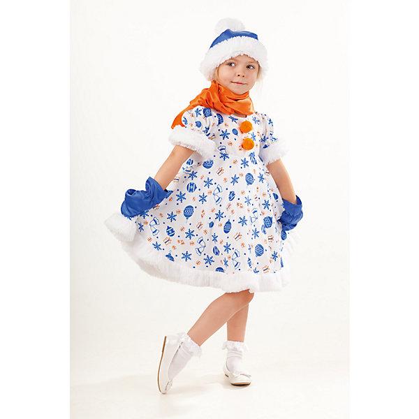 1025 к-18 Костюм Снеговик СнежанаНовинки Новый Год<br>100% полиэстер Костюм Снеговик Снежанна подойдёт для сценического выступления, утренника или другого праздничного мероприятия. Красивый и удобный костюм обязательно порадует активного и артистичного ребёнка. Платье с необычным принтом,  с отделкой из пушистого плюша и бумбонами, застегивается на молнию на спинке. Образ  Снеговика Жанны дополняет шарф ярко-оранжевого цвета, перчатки и шапочка.<br>Ширина мм: 450; Глубина мм: 80; Высота мм: 350; Вес г: 250; Возраст от месяцев: 48; Возраст до месяцев: 60; Пол: Женский; Возраст: Детский; Размер: 110,116; SKU: 7238567;