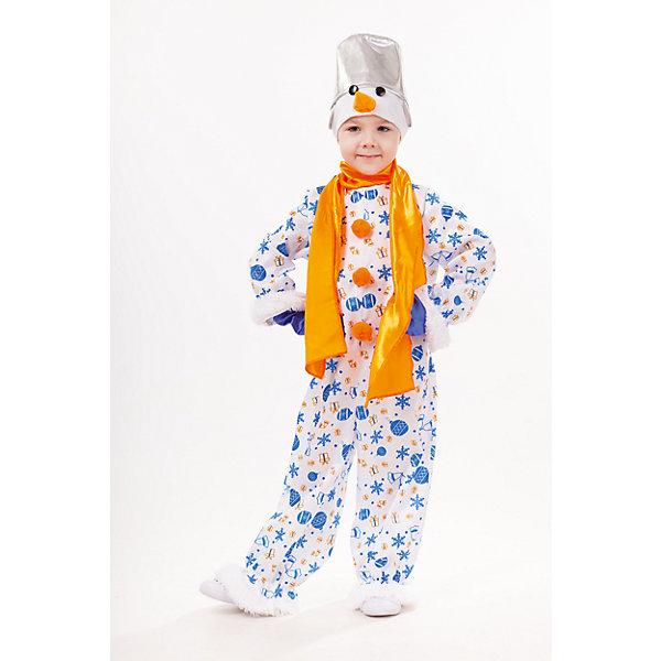 1037 к-18 Костюм Снеговик СнежокНовинки Новый Год<br>100% полиэстер Карнавальный костюм Снеговичок Снежок подойдёт для сценического выступления, утренника или другого праздничного мероприятия.Комбинезон с необычным принтом,украшен манжетами из пушистого плюша и бумбонами. Дополнением комбинезону служит яркий-оранжевый сатиновый шарф. Головной убор выполнен в виде шапки с ведром и морковным носом снеговика. Варежки однотонного синего цвета.<br><br>Ширина мм: 450<br>Глубина мм: 80<br>Высота мм: 350<br>Вес г: 250<br>Возраст от месяцев: 48<br>Возраст до месяцев: 60<br>Пол: Унисекс<br>Возраст: Детский<br>Размер: 110,128,116<br>SKU: 7238578