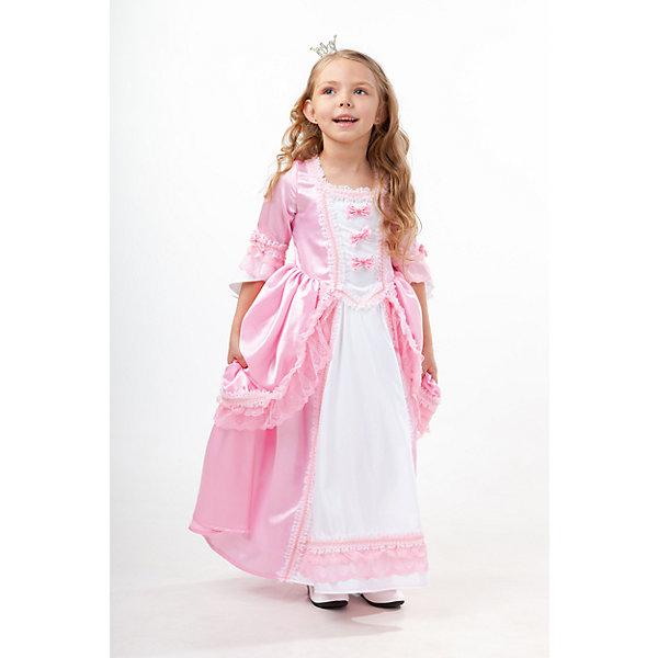 2020 к-18 Костюм ПринцессаНовинки для праздника<br>100% полиэстер Нежное милое платье Принцессы понравится каждой маленькой девочке. Розовое длинное платье с белыми вставками, украшено рюшами и  маленькими бантиками на груди. Образ дополняет ободок украшеный короной. Застегивается на молнию на спинке.<br>Ширина мм: 450; Глубина мм: 80; Высота мм: 350; Вес г: 250; Возраст от месяцев: 84; Возраст до месяцев: 96; Пол: Женский; Возраст: Детский; Размер: 128,110,116,140,134; SKU: 7238631;