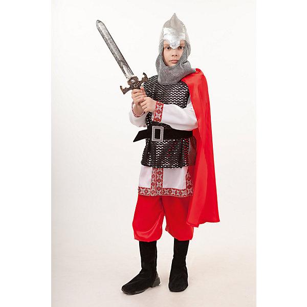 2027 к-18 Костюм БогатырьКарнавальные костюмы для мальчиков<br>100% полиэстер В костюме Богатыря каждый мальчик почувствует себя настоящим мужчиной. В комплект входит рубаха расшитая яркой тесьмой с имитацией кольчуги, шлем с кольчугой, красный плащ и брюки, и конечноже меч.<br>Ширина мм: 450; Глубина мм: 80; Высота мм: 350; Вес г: 250; Возраст от месяцев: 48; Возраст до месяцев: 60; Пол: Мужской; Возраст: Детский; Размер: 110,140,134,128,116; SKU: 7238637;