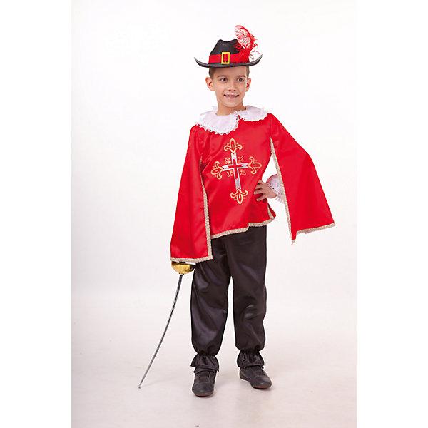 2030 к-18 Костюм Мушкетер красныйНовинки для праздника<br>100% полиэстер Карнавальный костюм Мушкетер красный выполнен в традиционом его представлении. Шляпа с полями украшена красным пером. Рубашка с белоснежными рукавами фонариками прекрасно сочетается с плащом, брюки классического черного цвета. Шпага дополнят образ мушкетера.<br><br>Ширина мм: 450<br>Глубина мм: 80<br>Высота мм: 350<br>Вес г: 250<br>Возраст от месяцев: 84<br>Возраст до месяцев: 96<br>Пол: Мужской<br>Возраст: Детский<br>Размер: 128,140,134<br>SKU: 7238643