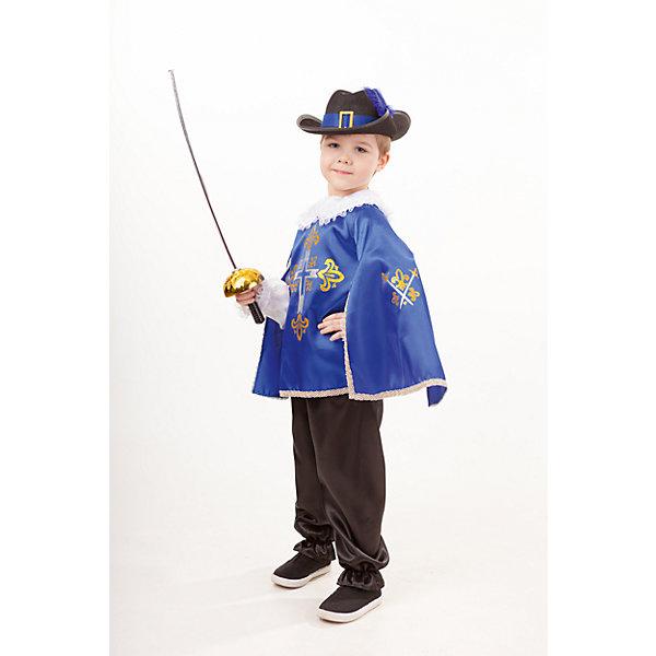 2031 к-18 Костюм Мушкетер синийКарнавальные костюмы для мальчиков<br>100% полиэстер Карнавальный костюм Мушкетер синий выполнен в традиционом его представлении. Шляпа с полями украшена синим пером. Рубашка с белоснежными рукавами фонариками прекрасно сочетается с плащом, брюки классического черного цвета. Шпага дополнят образ мушкетера.<br>Ширина мм: 450; Глубина мм: 80; Высота мм: 350; Вес г: 250; Возраст от месяцев: 108; Возраст до месяцев: 120; Пол: Мужской; Возраст: Детский; Размер: 140,128,134; SKU: 7238647;