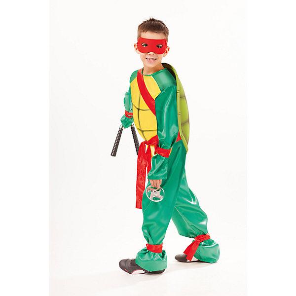 2034 к-18 Костюм Черепашка НиндзяНовинки для праздника<br>100% полиэстер Каждый мальчишка хоть раз мечтает побывать в образе Черепашки Ниндзя. Рубашка сочетает желтый и зеленый цвет, с красным поясом и вставками. На спине красуется панцирь. Маска красного цвета дополняет образ. Не заменимым атрибутом  костюма являются звезды Сюрикэн и нун-чаки.<br><br>Ширина мм: 450<br>Глубина мм: 80<br>Высота мм: 350<br>Вес г: 250<br>Возраст от месяцев: 96<br>Возраст до месяцев: 108<br>Пол: Мужской<br>Возраст: Детский<br>Размер: 134,140,128<br>SKU: 7238651