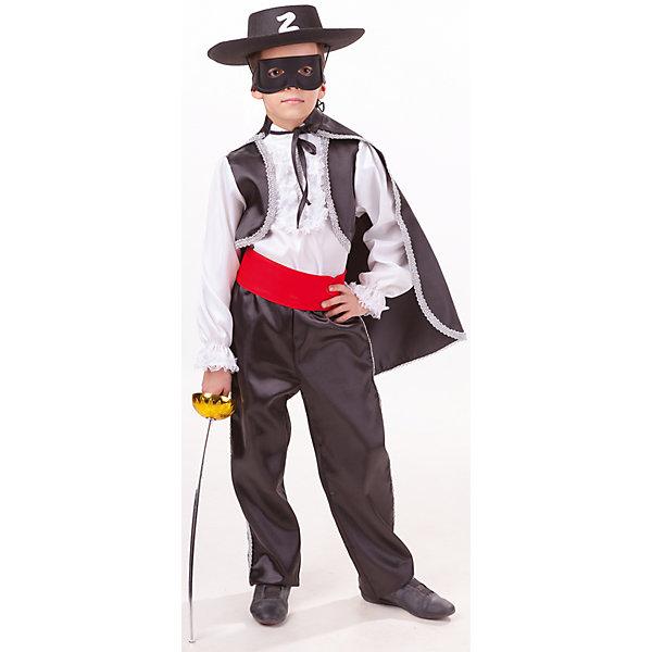 2039 к-18 Костюм ЗОРРОКарнавальные костюмы для мальчиков<br>100% полиэстер В костюме Зорро каждый мальчишка будет выглядеть как настоящий герой фильма. В комплект входит белая рубашка с имитацией жилета черного цвета, украшеного серебристой тесьмой и черный плащ. Брюки черного цвета с красным поясом. Обязательные атрибуты образа- это конечно черная шляпа с буквой Z, маска и рапира.<br>Ширина мм: 450; Глубина мм: 80; Высота мм: 350; Вес г: 250; Возраст от месяцев: 84; Возраст до месяцев: 96; Пол: Мужской; Возраст: Детский; Размер: 128,110,116; SKU: 7238655;