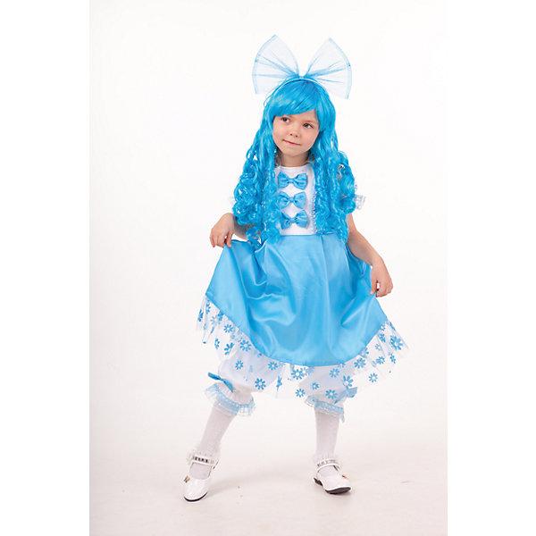 2041 к-18 Костюм МальвинаНовинки для праздника<br>100% полиэстер Каждая девочка будет великолепна и неотразима в карнавальном костюме Мальвины ТМ Пуговка. Голубые длинные кудрявые волосы, незаменимая часть образа, на голове служит украшением огромный бант. Сатиновое платье голубого цвета украшено бантиками, на подоле ткань-сеточка. И конечно в комплект входят белые панталоны,  урашеные голубой тесьмой.<br><br>Ширина мм: 450<br>Глубина мм: 80<br>Высота мм: 350<br>Вес г: 250<br>Цвет: голубой<br>Возраст от месяцев: 48<br>Возраст до месяцев: 60<br>Пол: Женский<br>Возраст: Детский<br>Размер: 110,128,116<br>SKU: 7238663