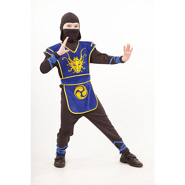 2053 к-18 Костюм НиндзяКарнавальные костюмы для мальчиков<br>100% полиэстер Каждый мальчишка хоть раз мечтат побывать в образе Ниндзя. Яркий карнавальный костюм Ниндзя в черно-синем цвете. Рубашка с капюшоном и брюки выполнены из трикотажа. Красивая, бархатная накидка синего цвета с золотистой аппликацией. Ну и конечно в комплект входит меч.<br>Ширина мм: 450; Глубина мм: 80; Высота мм: 350; Вес г: 250; Возраст от месяцев: 84; Возраст до месяцев: 96; Пол: Мужской; Возраст: Детский; Размер: 128,140,134; SKU: 7238671;