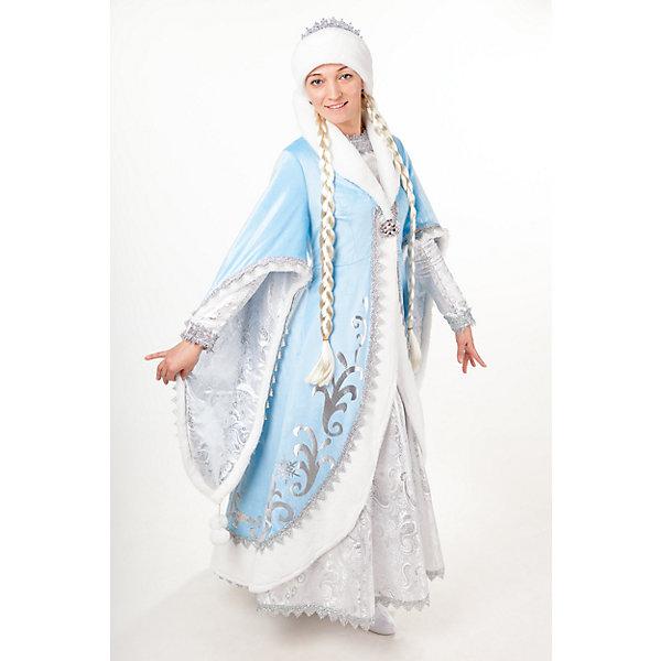 3007 к-18 Костюм Снегурочка ПремиумНовинки Новый Год<br>100% полиэстер Карнавальны костюм  Снегурочка Премиум,  воплощает традиционный образ внучки Деда Мороза, выполнен в необычном дизайнерском исполнении. Костюм Снегурочка Премиум отлично сочитается с костюмом Деда Мороза Премиум. Шуба небесно голубого цвета, выполнена из плюша с серебристыми узорами с отделкой из искусственного белоснежного меха, украшенного серебрянной тесьмой. Рукава  шубы двойные - одни свисают до колена, другие имитируют ракав платья. Платье выполнено из парчи серебристого цвета. В комплект костюма входит подъюбник, косы белого цвета, шапка с отделкой из меха и парчи.<br><br>Ширина мм: 450<br>Глубина мм: 80<br>Высота мм: 350<br>Вес г: 250<br>Возраст от месяцев: 156<br>Возраст до месяцев: 168<br>Пол: Женский<br>Возраст: Детский<br>Размер: 164<br>SKU: 7238678