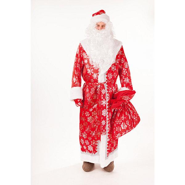 3009 к-18 Костюм Дед МорозНовинки Новый Год<br>100% полиэстер Красочный карнавальный костюм Дед Мороза, выполнен из сатина красного цвета с серебристыми снежинками. Шуба отделана мехом и серебрянной тесьмой. Идеально подойдет для празднования Нового года. В комплект входит также шапка, пояс, варежки и мешок , в тон шубы.<br>Ширина мм: 450; Глубина мм: 80; Высота мм: 350; Вес г: 250; Возраст от месяцев: 180; Возраст до месяцев: 192; Пол: Мужской; Возраст: Детский; Размер: 176; SKU: 7238680;