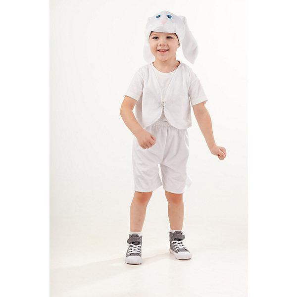 4005 к-18 Костюм Заяц белый ВаняКарнавальные костюмы для мальчиков<br>Верх 100% полиэстер; подклад: 35% хлопок+65%полиэстер Карнавальный костюм Заяц белый Ваня выполнен из плюша. Маска-шапка в виде объемной мордочки зайчика с длинными белыми ушками. Также в комплект входит жилетка белого цвета, шорты белого цвета на резинке .<br><br>Ширина мм: 450<br>Глубина мм: 80<br>Высота мм: 350<br>Вес г: 250<br>Возраст от месяцев: 48<br>Возраст до месяцев: 60<br>Пол: Мужской<br>Возраст: Детский<br>Размер: 110<br>SKU: 7238692