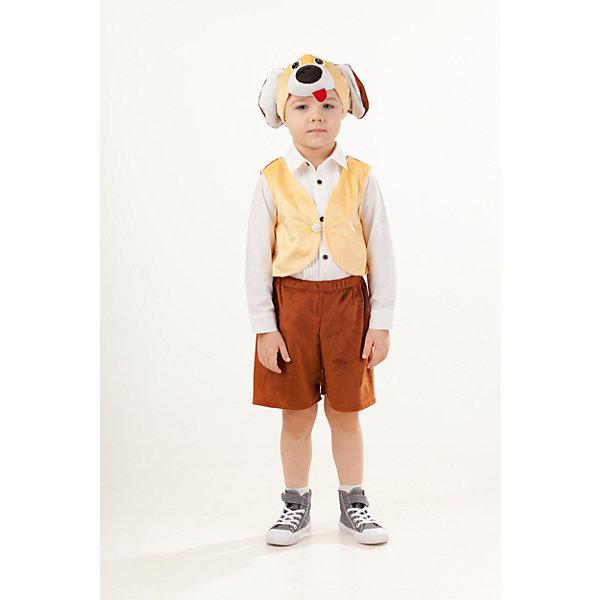 4007 к-18 Костюм Песик ТобикКарнавальные костюмы для мальчиков<br>Верх 100% полиэстер; подклад: 35% хлопок+65%полиэстер Веселый карнавальный костюм Песик Тобик выполнен из плюша. Жилетка на спинке коричневого цвета, спереди бежевого цвета с застежкой поговицей. В комплект входят коричневые шорты и маска-шапка в виде мордочки собаки с набивным носом с красным языком.<br><br>Ширина мм: 450<br>Глубина мм: 80<br>Высота мм: 350<br>Вес г: 250<br>Возраст от месяцев: 48<br>Возраст до месяцев: 60<br>Пол: Мужской<br>Возраст: Детский<br>Размер: 110<br>SKU: 7238696