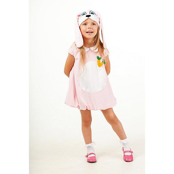 902 к-17 Костюм ЗайкаНовинки для праздника<br>Верх 100% полиэстер; подклад: 35% хлопок+65%полиэстер В оригинальном исполнении карнавальный костюм Зайки выполнен из плюша нежно-розового цвета. Платье дополняет аппликация в виде морковки, так же в комплекте идет маска-шапочка, в виде мордочки зайки с ушками.<br>Ширина мм: 450; Глубина мм: 80; Высота мм: 350; Вес г: 250; Возраст от месяцев: 36; Возраст до месяцев: 48; Пол: Женский; Возраст: Детский; Размер: 104; SKU: 7238714;