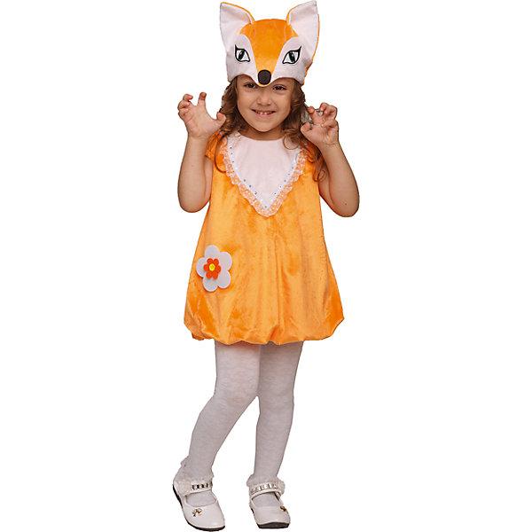 905 к-17 Костюм ЛисичкаКарнавальные костюмы для девочек<br>Верх 100% полиэстер; подклад: 35% хлопок+65%полиэстер Карнавальный костюм Лисички состоит из плюшевого платья и маски. Оранжевое платье застегивается молнией на спине. Маска-шапка с изображением мордочки Лисы.<br>Ширина мм: 450; Глубина мм: 80; Высота мм: 350; Вес г: 250; Возраст от месяцев: 36; Возраст до месяцев: 48; Пол: Женский; Возраст: Детский; Размер: 104; SKU: 7238720;