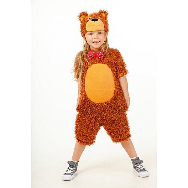 911 к-17 Костюм Пушистый медведьНовинки для праздника<br>Верх 100% полиэстер; подклад: 35% хлопок+65%полиэстер В карнавальном костюме Пушистый медведь, ни один малыш не будет оставлен без внимания. Кудрявый плюшевый материал только придает образу Медвежонка добрый и нежный образ. Костюм подойдет как для девочки так и для мальчика. Комбинезон украшен  ярким красным бантиком в белый горошек на воротнике. Маска-шапка в виде мордочки Медвежонка с объемными ушками.<br><br>Ширина мм: 450<br>Глубина мм: 80<br>Высота мм: 350<br>Вес г: 250<br>Возраст от месяцев: 36<br>Возраст до месяцев: 48<br>Пол: Унисекс<br>Возраст: Детский<br>Размер: 104<br>SKU: 7238730