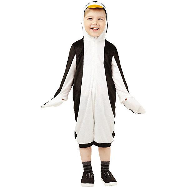 914 к-17 Костюм ПингвинНовинки для праздника<br>Верх 100% полиэстер; подклад: 35% хлопок+65%полиэстер Карнавальный костюм Пингвин выполнен в виде комбинезона с капюшоном. Черно-белая расцветка костюма выполнена в традиционных окрасах пингвина. Комбинезон застегивается на молнии спереди. Рукава выполнены как крылышки.<br><br>Ширина мм: 450<br>Глубина мм: 80<br>Высота мм: 350<br>Вес г: 250<br>Возраст от месяцев: 36<br>Возраст до месяцев: 48<br>Пол: Унисекс<br>Возраст: Детский<br>Размер: 104<br>SKU: 7238734