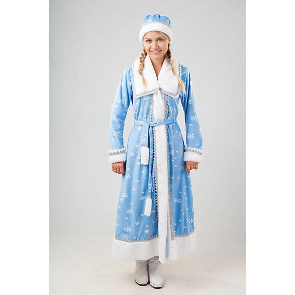 921 к-17 Костюм СнегурочкаНовинки Новый Год<br>100% полиэстер Карнавальный костюм Снегурочка выполнен в традиционом варианте. Шуба голубого цвета, украшеная серебряными снежинками, белоснежный плюшевый воротник. По краю шубы белоснежный плюш, украшеный серебряной тесьмой. Пояс, варежки и шапочка входят в комплект.<br><br>Ширина мм: 450<br>Глубина мм: 80<br>Высота мм: 350<br>Вес г: 250<br>Возраст от месяцев: 156<br>Возраст до месяцев: 168<br>Пол: Женский<br>Возраст: Детский<br>Размер: 164<br>SKU: 7238749