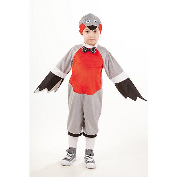 933 к-18 Костюм СнегирьКарнавальные костюмы для мальчиков<br>Верх 100% полиэстер; подклад: 35% хлопок+65%полиэстер Карнавальный костюм птички Снегирь подойдет как мальчику так и девочке. Костюм выполнен в виде комбинезона на застежке на спине, расцветка костюма характерна окрасу снегиря. На грудке украшение в виде бабочки, рукава в виде крылышек черного цвета. Маска-шапка в виде мордочки снегиря.<br>Ширина мм: 450; Глубина мм: 80; Высота мм: 350; Вес г: 250; Возраст от месяцев: 36; Возраст до месяцев: 48; Пол: Унисекс; Возраст: Детский; Размер: 104; SKU: 7238774;
