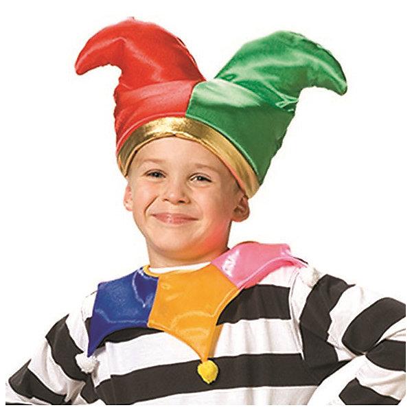 Колпак КлоунКарнавальные костюмы для мальчиков<br>Колпак, воротник<br><br>Ширина мм: 450<br>Глубина мм: 80<br>Высота мм: 350<br>Вес г: 150<br>Возраст от месяцев: 60<br>Возраст до месяцев: 108<br>Пол: Унисекс<br>Возраст: Детский<br>SKU: 7238890