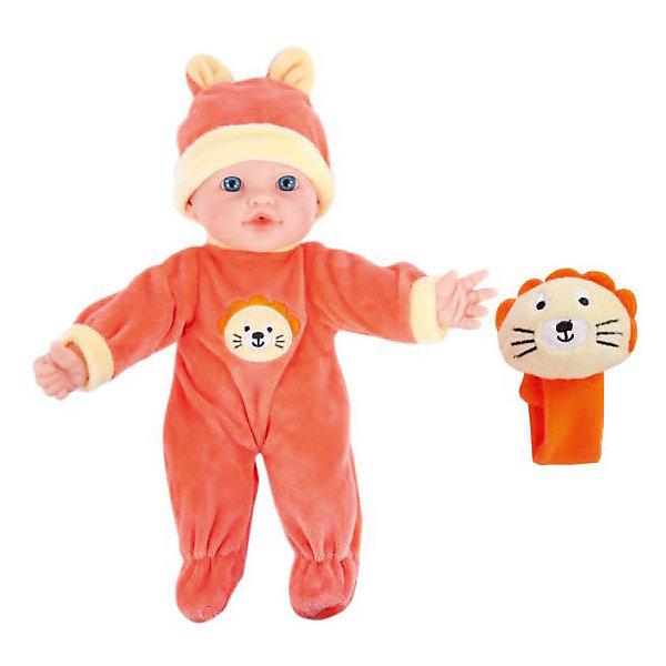 Кукла Бекки с игрушкой Моя первая кукла м/н,  озвуч., 30см.Куклы<br>Куколка озвученная с мягконабивным телом, с твердыми ручками и ножками. Такую куколку очень приятно обнимать и держать на ручках. Высота куклы: 30 см. Если нажать кукле на животик, она будет по-детски лепетать. Озвучка у куклы реалистичная: она говорит мама, папа, плачет, смеется, лепечет. Кукла одета в велюровый костюмчик и шапочку с забавными ушками. Поставляется в комплекте с игрушкой-браслетом с головой львенка. Браслет надевается на ручку куклы. Работает от 3 батареек AG13 (LR44) 1,5V, входят в комплект, перед использованием необходимо удалить блокировку из чипа. Рекомендованный возраст: 3 года +.<br><br>Ширина мм: 200<br>Глубина мм: 130<br>Высота мм: 300<br>Вес г: 560<br>Возраст от месяцев: 36<br>Возраст до месяцев: 2147483647<br>Пол: Женский<br>Возраст: Детский<br>SKU: 7240503
