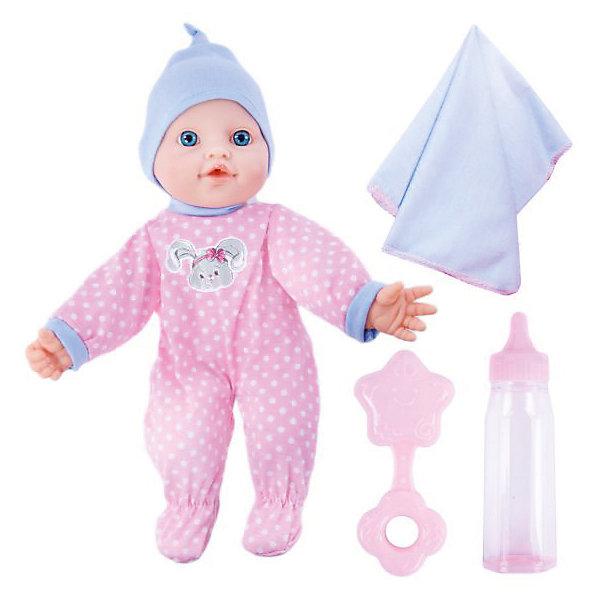 Кукла-пупс Mary Poppins Моя первая кукла Бекки-зайка в розовом, 30 см (звук)Куклы<br>Характеристики:<br><br>• возраст: от 3 лет<br>• комплектация: кукла, бутылочка, погремушка, пледик<br>• высота куклы: 30 см.<br>• материал: пластик, текстиль, наполнитель<br>• батарейки: 3 типа AG13 (LR44) 1,5V<br>• наличие батареек: входят в комплект<br>• упаковка: картонная коробка блистерного типа<br>• размер упаковки: 20х30х13 см.<br>• вес: 600 гр.<br><br>Кукла Бекки, озвученная, с мягконабивным телом, с твердыми ручками и ножками очарует любую девочку и даст ей возможность почувствовать себя заботливой мамой. Такую куколку очень приятно обнимать и держать на ручках.<br><br>Кукла оснащена звуковыми эффектами. Озвучка у куклы реалистичная. Она говорит «мама», «папа», плачет, смеется, лепечет.<br><br>У куклы выразительные глазки. Она одета в костюмчик из эксклюзивной коллекции торговой марки Mary Poppins «Зайка»: комбинезон, украшенный изображением зайчика и шапочку.<br><br>Кукла поставляется в комплекте с аксессуарами: бутылочкой, погремушкой и пледиком. Погремушка гремит.<br><br>Куклу Бекки-зайка Моя первая кукла м/н,  озвуч., 30см. можно купить в нашем интернет-магазине.<br>Ширина мм: 200; Глубина мм: 130; Высота мм: 300; Вес г: 600; Возраст от месяцев: 36; Возраст до месяцев: 2147483647; Пол: Женский; Возраст: Детский; SKU: 7240504;