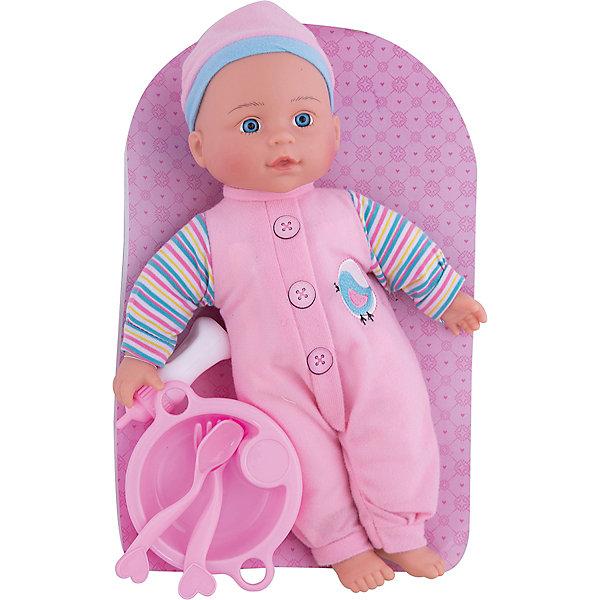 Кукла Полли Милый болтун, 33 см, м-н, озвуч., рюкзакКуклы<br>Кукла Полли с мягконабивным телом, твердыми ручками и ножками. Куколка очень похожа на настоящего малыша! Если нажать Полли на животик, она будет смеяться, плакать, весело агукать или звать маму и папу. Кукла одета в нежно-розовый комбенизон с красочным принтом, а на голове у нее - милая шапочка. В комплекте прилагаются аксессуары - бутылочка, тарелка и 2 вилки. Кукла упакована в фирменный рюкзачок. Игрушка изготовлена из пластмассы и ПВХ с элементами текстиля. Работает от 3-х батареек типа AG13 (входят в комплект). Перед началом игры необходимо удалить картонную заглушку рядом с отсеком для элементов питания. Высота куклы: 33 см. Рекомендованный возраст: 3 года +.<br><br>Ширина мм: 210<br>Глубина мм: 80<br>Высота мм: 350<br>Вес г: 440<br>Возраст от месяцев: 36<br>Возраст до месяцев: 2147483647<br>Пол: Женский<br>Возраст: Детский<br>SKU: 7240514