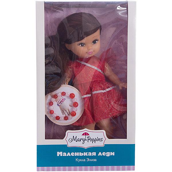 Классическая кукла Mary Poppins Маленькая леди с браслетом Элиза в красном платье, 25 смКуклы<br>Характеристики:<br><br>• возраст: от 3 лет<br>• комплектация: кукла, браслет<br>• высота куклы: 25 см.<br>• материал: пластик, ПВХ, текстиль<br>• упаковка: картонная коробка блистерного типа<br><br>Кукла Элиза из серии «Маленькая леди» от производителя Mary Poppins очарует маленьких девочек.<br><br>Элиза выглядит, как настоящая леди. У куклы миловидное лицо, выразительные глаза. Длинные темные волосы куклы можно расчесывать, заплетать, а также укладывать в различные прически. <br><br>Элиза одета в красивое платье, которое будет по достоинству оценено маленькими модницами. Ручки и ножки у куклы подвижны, глазки не закрываются.<br><br>Кукла поставляется в комплекте с браслетом, который девочка может носить на руке.<br><br>Куклу Элиза Маленькая леди с браслетом можно купить в нашем интернет-магазине.<br>Ширина мм: 260; Глубина мм: 150; Высота мм: 100; Вес г: 340; Возраст от месяцев: 36; Возраст до месяцев: 2147483647; Пол: Женский; Возраст: Детский; SKU: 7240517;