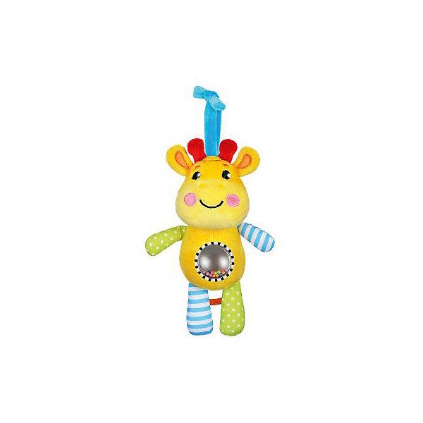 Музыкальная подвеска Жирафики ЖирафикИгрушки для новорожденных<br>Характеристики:<br><br>• возраст: от 0 месяцев<br>• материал: пластик, текстиль<br>• упаковка: блистер на картоне<br>• вес: 280 гр.<br><br>Музыкальная подвеска-погремушка «Жирафик» отвлечет малыша от капризов, успокоит и будет стимулировать развитие слухового и зрительного восприятия.<br><br>На животике жирафа расположен шар с безопасным зеркальцем и разноцветными пластиковыми шариками, которые гремят при движении. Игрушка обладает рядом звуковых эффектов, которые сделают ее еще более привлекательной в глазах малыша.<br><br>Игрушку можно подвесить к коляске, бортику кроватки, автокреслу.<br><br>Музыкальную подвеску-погремушку с зеркальцем Жирафик можно купить в нашем интернет-магазине.<br>Ширина мм: 120; Глубина мм: 80; Высота мм: 240; Вес г: 280; Возраст от месяцев: 36; Возраст до месяцев: 2147483647; Пол: Унисекс; Возраст: Детский; SKU: 7240530;