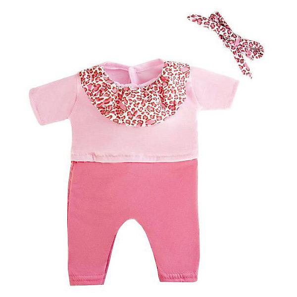 Одеждя для куклы Mary Poppins Комбинезон и повязка, 38-43 см (розовый леопард)Одежда для кукол<br>Характеристики:<br><br>• возраст: от 3 лет<br>• в комплекте: комбинезон, повязка, пластиковая вешалка<br>• высота куклы: 38-43 см.<br>• материал: текстиль<br>• упаковка: чехол<br>• уход: стирка в стиральной машине при температуре 30 ?С<br><br>Комплект одежды станет отличным дополнением к гардеробу любой куклы высотой от 38 до 43 см. Одежда отличается реалистичным дизайном и продуманным кроем.<br><br>В наборе девочки найдут комбинезон и повязку. Комбинезон сшит из ткани двух оттенков красивого розового цвета. Воротничок комбинезона и повязка выполнены в леопардовой расцветке.<br><br>Одежда для куклы сшита из мягкой, приятной на ощупь ткани. Швы на изделиях выполнены очень качественно и аккуратно. Яркие цвета одежды останутся такими же даже после стирки, так как ткань окрашена стойкими красителями.<br><br>Комплект одежды упакован в прозрачный чехол на застежках, а вешалка поможет малышкам удобно хранить набор в шкафу.<br><br>Одежду для куклы 38-43см, комбинезон и повязку можно купить в нашем интернет-магазине.<br>Ширина мм: 220; Глубина мм: 10; Высота мм: 330; Вес г: 120; Возраст от месяцев: 36; Возраст до месяцев: 2147483647; Пол: Женский; Возраст: Детский; SKU: 7240540;