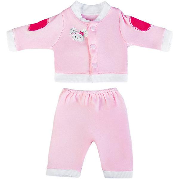 Одеждя для куклы Mary Poppins Костюмчик, 38-43 см (розовый)Одежда для кукол<br>Характеристики:<br><br>• возраст: от 3 лет<br>• в комплекте: кофточка, штанишки, пластиковая вешалка<br>• высота куклы: 38-43 см.<br>• материал: текстиль<br>• упаковка: чехол<br>• уход: стирка в стиральной машине при температуре 30 ?С<br><br>Комплект одежды станет отличным дополнением к гардеробу любой куклы высотой от 38 до 43 см.<br><br>В наборе девочки найдут кофточку с капюшоном и штанишки нежно-розового цвета. Одежда отличается реалистичным дизайном и продуманным кроем, она полностью имитирует одежду для малышей.<br><br>Одежда для куклы сшита из мягкой, приятной на ощупь ткани. Швы на изделиях выполнены очень качественно и аккуратно. Цвет одежды останется такими же даже после стирки, так как ткань окрашена стойкими красителями.<br><br>Комплект одежды упакован в прозрачный чехол на застежках, а вешалка поможет малышкам удобно хранить набор в шкафу.<br><br>Одежду для куклы 38-43см, костюм можно купить в нашем интернет-магазине.<br>Ширина мм: 220; Глубина мм: 10; Высота мм: 300; Вес г: 130; Возраст от месяцев: 36; Возраст до месяцев: 2147483647; Пол: Женский; Возраст: Детский; SKU: 7240543;