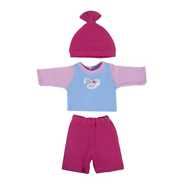 Одежда для куклы 38-43см, кофточка, брючки и шапочка ЗайкаОдежда для кукол<br>Оригинальный дизайн и высокое качество пошива костюма делает его миниатюрной копией настоящей одежды для маленьких детей. Красивый наряд, выполненный в ярких тонах, пополнит гардероб любимой куклы девочки и внесет разнообразие в игровой процесс. В комплекте: кофточка, брючки и шапочка. Материал: текстиль. Подходящая высота куклы: 38-43 см<br><br>Ширина мм: 220<br>Глубина мм: 5<br>Высота мм: 300<br>Вес г: 40<br>Возраст от месяцев: 36<br>Возраст до месяцев: 2147483647<br>Пол: Женский<br>Возраст: Детский<br>SKU: 7240545