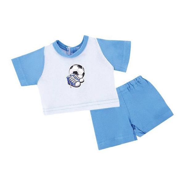Одежда для куклы Mary Poppins Спорт футболка и шорты, 38-43 см (голубой)Одежда для кукол<br>Характеристики:<br><br>• возраст: от 3 лет<br>• в комплекте: футболка, шорты, пластиковая вешалка<br>• высота куклы: 38-43 см.<br>• материал: текстиль<br>• упаковка: чехол<br>• уход: стирка в стиральной машине при температуре 30 ?С<br><br>Комплект одежды станет отличным дополнением к гардеробу любой куклы высотой от 38 до 43 см. Одежда отличается реалистичным дизайном и продуманным кроем.<br><br>В наборе девочки найдут бело-голубую футболку с короткими рукавами, украшенную изображением футбольного мяча и бутсов, а также шортики в тон.<br><br>Одежда для куклы сшита из мягкой, приятной на ощупь, плотной ткани. Швы на изделиях выполнены очень качественно и аккуратно. Яркие цвета одежды останутся такими же даже после стирки, так как ткань окрашена стойкими красителями.<br><br>Комплект одежды упакован в прозрачный чехол на застежках, а вешалка поможет малышкам удобно хранить набор в шкафу.<br><br>Одежду для куклы 38-43см, футболку и шорты Спорт можно купить в нашем интернет-магазине.<br>Ширина мм: 220; Глубина мм: 5; Высота мм: 300; Вес г: 40; Возраст от месяцев: 36; Возраст до месяцев: 2147483647; Пол: Женский; Возраст: Детский; SKU: 7240547;