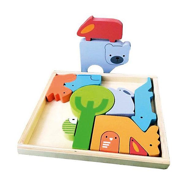 Пазл ЖивотныеДеревянные игрушки<br>Характеристики:<br><br>• возраст: от 3 лет<br>• в комплекте: деревянная коробка открытого типа, 11 фигурок<br>• материал: дерево<br>• упаковка: пленка<br><br>Пазл «Животные» - это логическая игра. Цель игры: разместить в коробке фигурки, сопоставив их по форме и линиям с соседними.<br><br>Складывая фигурки, ребенок разовьет мелкую моторику рук и начнёт лучше координировать свои движения.<br><br>Игрушка выполнена из экологически чистого материала – дерева. Окрашена в яркие цвета, нетоксичными красками. Не имеет острых углов, безопасна для малыша.<br><br>Пазл Животные можно купить в нашем интернет-магазине.<br><br>Ширина мм: 9999<br>Глубина мм: 9999<br>Высота мм: 9999<br>Вес г: 250<br>Возраст от месяцев: 36<br>Возраст до месяцев: 2147483647<br>Пол: Унисекс<br>Возраст: Детский<br>SKU: 7240550