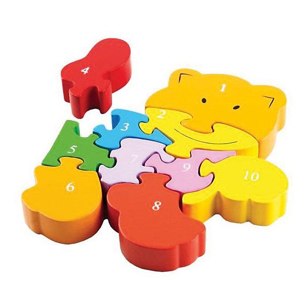 Вкладыш-пазл Mapacha КотикДеревянные игрушки<br>Характеристики:<br><br>• возраст: от 3 лет<br>• в комплекте: 10 фигурок<br>• материал: дерево<br><br>Фигурный пазл «Котик» разовьет фантазию и логическое мышление ребенка, научит его считать до 10. Пазл состоит из 10 элементов, которые соединяясь друг с другом, образуют забавного котенка.<br><br>Игрушка выполнена из экологически чистого материала – дерева. Окрашена в яркие цвета, нетоксичными красками. Не имеет острых углов, безопасна для малыша.<br><br>Пазл Котик можно купить в нашем интернет-магазине.<br>Ширина мм: 120; Глубина мм: 140; Высота мм: 20; Вес г: 210; Возраст от месяцев: 36; Возраст до месяцев: 2147483647; Пол: Унисекс; Возраст: Детский; SKU: 7240552;