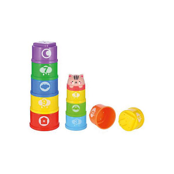 Пирамидка-формочки Жирафики Добрый котРазвивающие игрушки<br>Характеристики:<br><br>• возраст: от 6 месяцев<br>• количество формочек: 11<br>• материал: пластик<br><br>Пирамидка-формочки «Добрый кот» - прекрасная игрушка, в которую можно играть дома, на улице.<br><br>Из ярких и приятных на ощупь деталей-формочек можно построить пирамидку, которую завершает голова котика или сложить формочки друг в друга как матрешку.<br><br>Яркие формочки с различными рисунками непременно привлекут внимание малыша. Формочки подходят для игр в песочнице, можно делать разные по размеру куличики или попробовать аккуратно построить песчаную пирамидку.<br><br>Игра с развивающей пирамидкой научит ребенка различать и сопоставлять предметы по размеру.<br><br>Пирамидку-формочки Добрый кот можно купить в нашем интернет-магазине.<br>Ширина мм: 190; Глубина мм: 80; Высота мм: 270; Вес г: 310; Возраст от месяцев: 36; Возраст до месяцев: 2147483647; Пол: Унисекс; Возраст: Детский; SKU: 7240555;