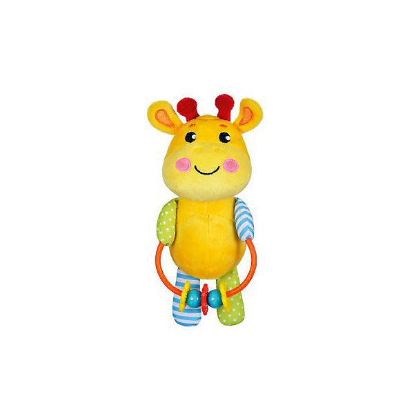 Развивающая игрушка Жирафики Жирафик с погремушкойИгрушки для новорожденных<br>Характеристики:<br><br>• возраст: от 0 месяцев<br>• материал: пластик, текстиль<br>• вес: 160 гр.<br><br>Игрушка «Жирафик» отвлечет малыша от капризов, успокоит и будет стимулировать развитие слухового и зрительного восприятия, тактильных ощущений и координации движений.<br><br>Яркая игрушка выполнена в виде забавного жирафа, держащего в лапках кольцо с нанизанными на него мелкими предметами, которые ребенок может перемещать с места на место.<br><br>Развивающую игрушку с погремушками Жирафик можно купить в нашем интернет-магазине.<br>Ширина мм: 110; Глубина мм: 70; Высота мм: 220; Вес г: 160; Возраст от месяцев: 36; Возраст до месяцев: 2147483647; Пол: Унисекс; Возраст: Детский; SKU: 7240564;