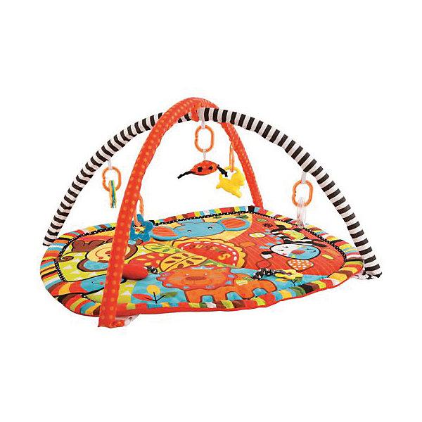Развивающий коврик с дугами Жирафики Ушастики с 6-ю игрушкамиРазвивающие коврики<br>Характеристики:<br><br>• возраст: от 0 месяцев<br>• в наборе: коврик, дуги, 6 развивающих игрушек, пищалка, шуршалка<br>• размер коврика: 85х70 см.<br>• материал: пластик, текстиль<br>• упаковка: сумка<br><br>Развивающий коврик «Ушастики» выполнен в ярких красочных цветах, что будет благоприятно влиять на зрительное восприятие ребенка. На поверхности коврика изображены африканские животные: слоненок, львенок, зебра и обезьянка. Ушки слоненка — это отдельно пришитые к коврику развивающие элементы с шуршащими вставками внутри. Внутри носа зебры — пищалка.<br><br>На этом текстильном коврике малыш может играть в трёх положениях: лежа на спинке, лежа на животике и сидя. К коврику крепятся дуги, каркас которых спрятан под мягкой текстильной обивкой. К дугам с помощью специальных колечек подвешиваются разные развивающие игрушки: пластмассовая погремушка в виде прозрачного колечка с шариками внутри, пластмассовая погремушка в виде львенка, текстильная игрушка в виде паучка с забавными лапками-шнурочками и безопасным зеркальцем, текстильная погремушка в виде яблочка, фигурные фактурные прорезыватели для первых молочных зубов малыша. Все игрушки при необходимости можно легко снять с дуг.<br><br>На коврике есть маленький текстильный кармашек. Когда малыш немножко подрастет, он может вкладывать в этот кармашек небольшие игрушки.<br><br>Со временем дуги можно снять и дальше использовать коврик как мягкую и теплую подстилку для игр малыша.<br><br>Игрушка стимулирует двигательную активность малыша, помогает овладеть разными навыками, например навыком захвата предмета и удерживания его в руке, а также развивает тактильные и слуховые ощущения.<br><br>Дуги и игрушки можно мыть в теплой мыльной воде, коврик можно стирать в стиральной машине или вручную при температуре не более 30 градусов. Сушить все элементы нужно при комнатной температуре.<br><br>Развивающий коврик Ушастики с 6-ю развивающими игрушка