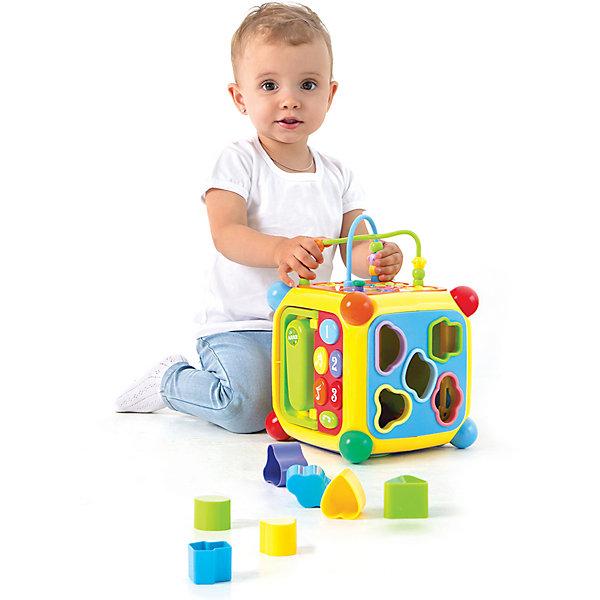 Развивающий центр Мультикуб, 7 игр на каждой стороне, с телефоном и пианиноРазвивающие центры<br>Это настоящий многофункциональный игровой центр! На каждой стороне куба — разные развивающие игры. На двух сторонах расположены сортеры — фигурные отверстия, через которые малыш должен протолкнуть внутрь куба фигурные элементы. На третьей стороне — игрушка-лабиринт с разноцветными колечками и шестеренки, которые можно вращать. Четвертая сторона — это телефон для малышей с большими кнопками. Игра с телефоном сопровождается различными звуками и мелодиями, звук включается с помощью кнопки on / off , расположенной на этой же стороне. Здесь же есть складная ручка для переноски куба. Пятая сторона — музыкальное пианино со своим отдельным переключателем питания on / off . У пианино — пять клавиш разного цвета и четыре функциональных кнопки с изображением музыкальных инструментов. При нажатии на функциональные кнопки звучание пианино становится похожим на звучание соответствующего музыкального инструмента. Еще одна кнопка в виде ноток, расположенная здесь же, включает режим проигрывания мелодий. Шестая сторона — это дверца, с помощью которой куб можно открывать. Дверца открывается ключиком, присоединенным к этой же стороне с помощью веревочки. Игрушка работает от 4 батареек ААА. Батарейки не входят в комплект. Размер: 19х19х28 см<br><br>Ширина мм: 200<br>Глубина мм: 200<br>Высота мм: 280<br>Вес г: 1630<br>Возраст от месяцев: 36<br>Возраст до месяцев: 2147483647<br>Пол: Унисекс<br>Возраст: Детский<br>SKU: 7240574