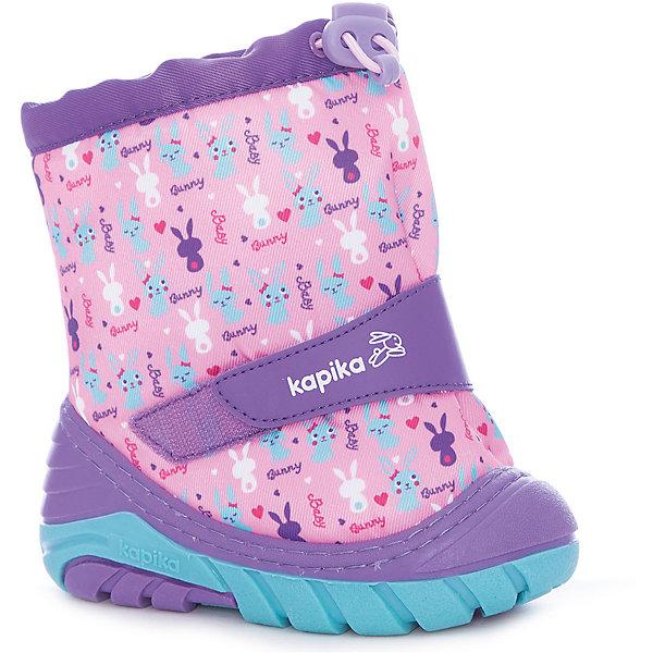Сноубутсы для девочки KapikaСноубутсы<br>Характеристики товара:<br><br>• цвет: фиолетовый/розовый<br>• внешний материал: текстиль, искусственная кожа<br>• внутренний материал: текстиль, шерсть<br>• стелька: натуральная кожа<br>• подошва: ТЭП<br>• сезон: зима<br>• температурный режим: от -20 до 0<br>• застежка: молния<br>• подошва не скользит <br>• защита мыса<br>• анатомические <br>• страна бренда: Россия<br>• страна изготовитель: Китай<br><br>Дутики для девочки Kapika сделаны из прочных материалов и натуральной шерсти, они помогут обеспечить ногам тепло и комфорт даже в сильные морозы. Зимние синие детские сапоги имеют удобную застежку и устойчивую подошву. <br><br>Сапоги для девочки Kapika сделаны из прочных безопасных материалов. Капика - это всегда качественные и удобные модели обуви для детей. <br><br>Сапоги для девочки Kapika (Капика) можно купить в нашем интернет-магазине.<br>Ширина мм: 257; Глубина мм: 180; Высота мм: 130; Вес г: 420; Цвет: лиловый; Возраст от месяцев: 21; Возраст до месяцев: 24; Пол: Женский; Возраст: Детский; Размер: 19/20,23/24,21/22; SKU: 7240686;