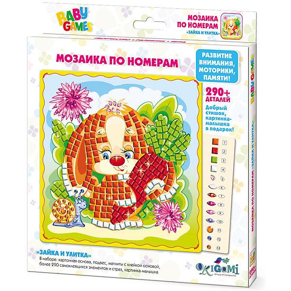 BABY GAMESМозаика по номерам Зайка и Улитка арт.03124Мозаика детская<br>Мозаика BABYART с самоклеящимися элементами помогает изучить цвета и цифры, развивает мелкую моторику и воображение. Cделай свою картинку и укрась ее стразами! После того, как мозаика готова, ее можно повесить на стену или прикрепить с помощью магнитана холодильник. Мозаику BABYART отличает высокое качество, авторские дизайны картинок, прекрасное наполнение. В наборе: * картонная основа с картинкой (20x20см),* 290+ самоклеящихся элементов и страз* подвес* магниты с клейкой основой* картинка-малышка<br><br>Ширина мм: 205<br>Глубина мм: 230<br>Высота мм: 15<br>Вес г: 130<br>Возраст от месяцев: 48<br>Возраст до месяцев: 2147483647<br>Пол: Унисекс<br>Возраст: Детский<br>SKU: 7240704