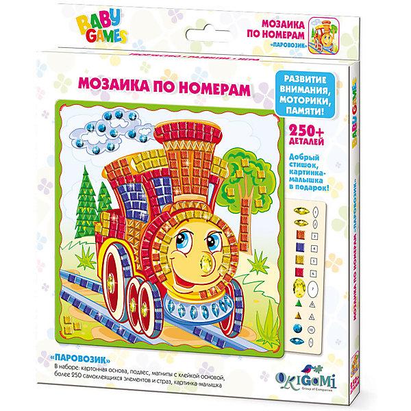 BABY GAMES Мозаика по номерам Паровозик  арт. 03307Мозаика детская<br>Характеристики товара:<br><br>• возраст: от 4 лет;<br>• пол: для мальчиков и девочек;<br>• количество деталей: 250 шт.;<br>• комплект: картонная основа с картинкой, подвес, магнит с клейкой основой, стразы, • картинка-малышка;<br>• из чего сделана игрушка (состав): бумага, картон, пластик;<br>• размер упаковки: 20,5x23x1,5 см.;<br>• вес: 90 гр.;<br>• упаковка: картонная коробка;<br>• размер основы: 20x20 см.;<br>• страна обладатель бренда: Россия.<br><br>Мозаика по номерам изображает интересный сказочный паровозик. <br><br>Такой игровой набор понравится ребенку, ведь ему предстоит доработать рисунок, приклеив к нему разноцветные пазлы. <br><br>Каждому цвету страз соответствует номер на картинке, куда и следует прикрепить цветной камушек. <br><br>Мозаика с самоклеящимися элементами помогает изучить цвета и цифры, развивает мелкую моторику и воображение. <br><br>Мозайку можно купить в нашем интернет-магазине.<br><br>Ширина мм: 205<br>Глубина мм: 230<br>Высота мм: 15<br>Вес г: 90<br>Возраст от месяцев: 48<br>Возраст до месяцев: 2147483647<br>Пол: Унисекс<br>Возраст: Детский<br>SKU: 7240705